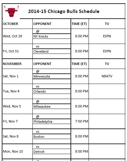 2014-15 Chicago Bulls Schedule