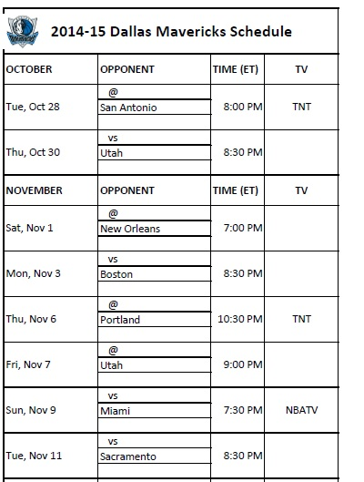 2014-15 Dallas Mavericks Schedule