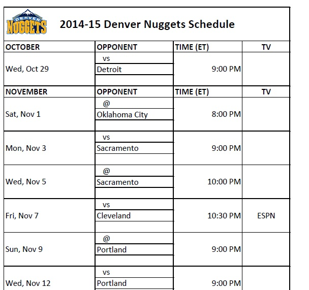 Denver Nuggets Schedule