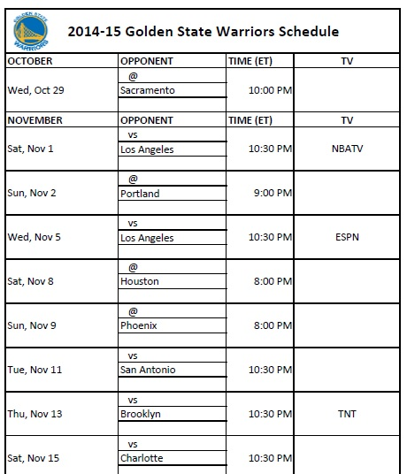 2014-15 Golden State Warriors Schedule