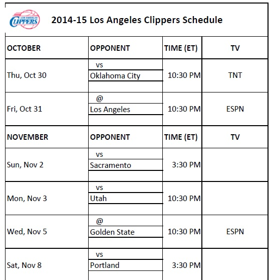 2014-15 Los Angeles Clippers Schedule