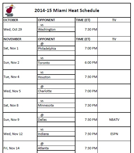 2014-15 Miami Heat Schedule