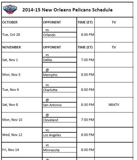 2014-15 New Orleans Pelicans Schedule
