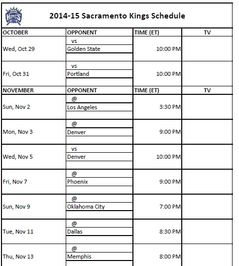 2014-15 Sacramento Kings Schedule