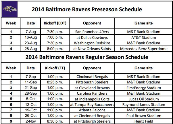 2014 NFL Printable Schedules: Baltimore Ravens Schedule
