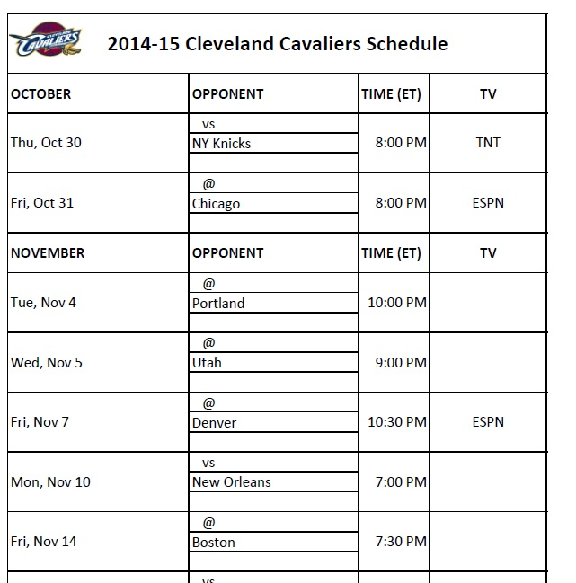 2014-15 NBA Schedules: Print our your Cleveland Cavs Schedule