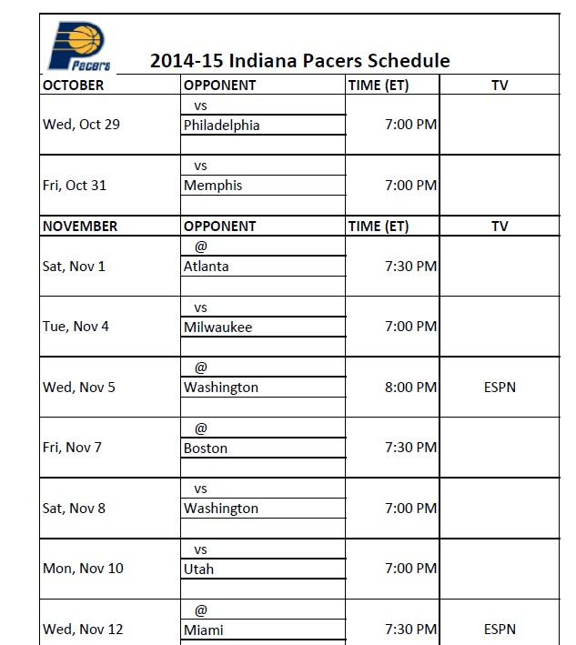 Breathtaking image throughout printable pacers schedule