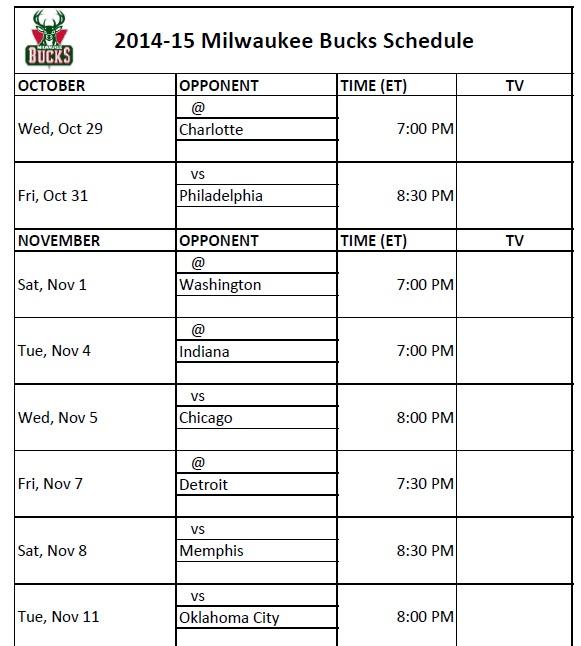 Milwaukee Bucks Schedule