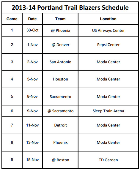 Printable Portland Trailblazers Schedule 2013-14