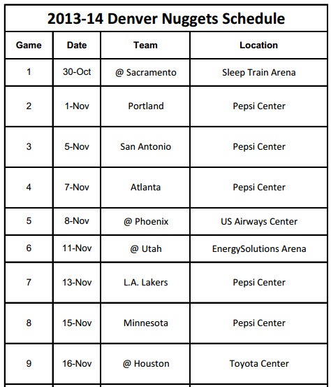 Printable Denver Nuggets 2013-14 Schedule