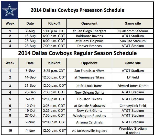 Printable Dallas Cowboys NFL Schedule for 2014