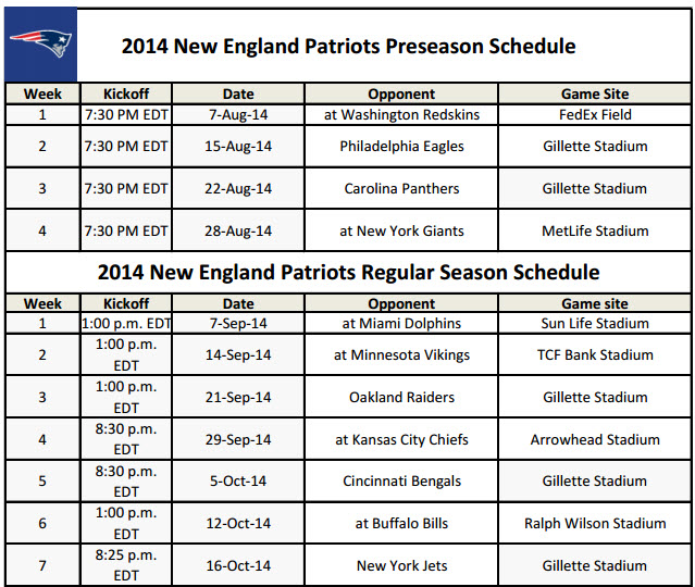 Printable New England Patriots' NFL Schedule for 2014