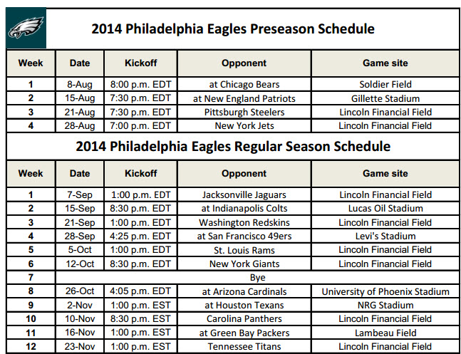 Printable Philadelphia Eagles Schedule 2014