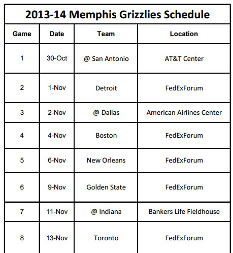 Memphis Grizzlies Schedule to Print 2013-14