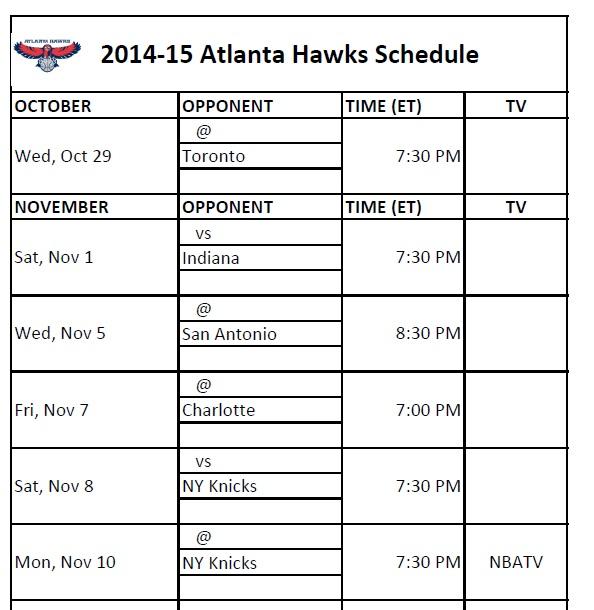 Atlanta Hawks Schedule