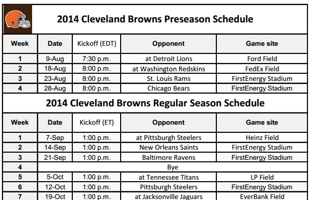 Print the Browns NFL Schedule for 2014