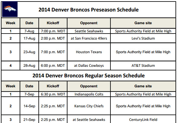 Denver Broncos 2014 Schedule for Printing