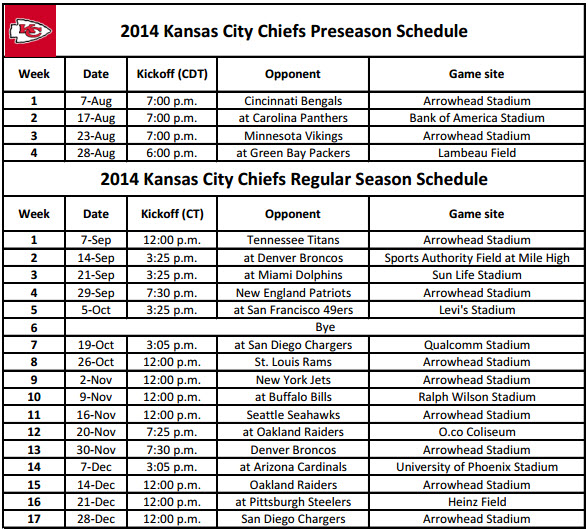 Print KC Chiefs Schedule for 2014 NFL season