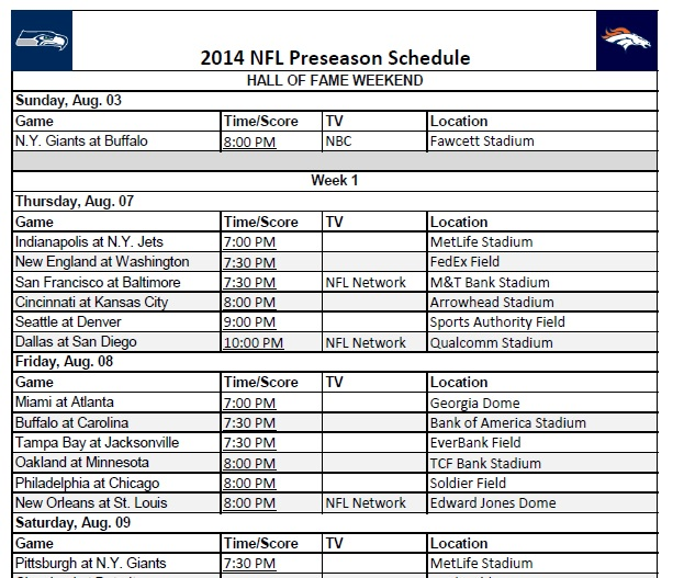 2014 NFL Preseason Schedule