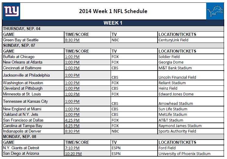2014 NFL Week 1 Schedule