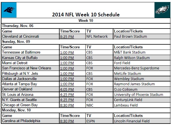 2014 NFL Week 10 Schedule