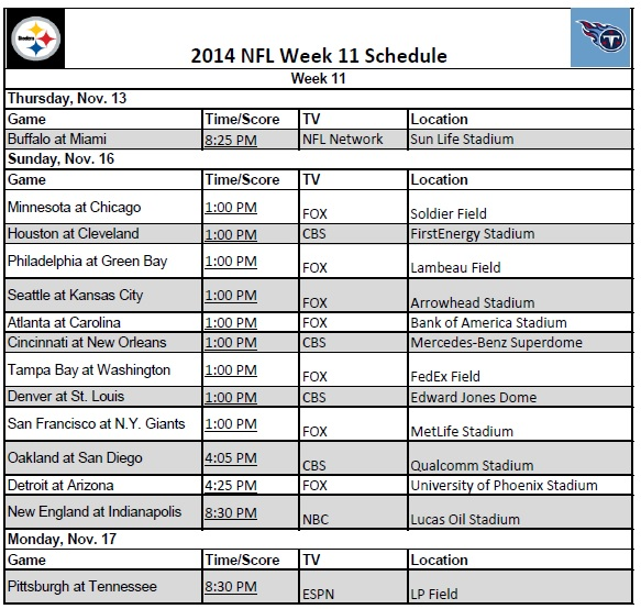 2014 NFL Week 11 Schedule
