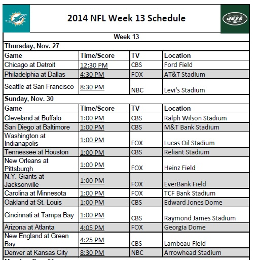 Printable 2014 NFL Week 13 Schedule