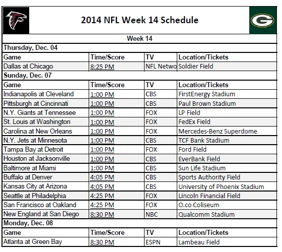 photograph relating to Nfl Week 7 Printable Schedules identify 7 days 14 - PrinterFriendly