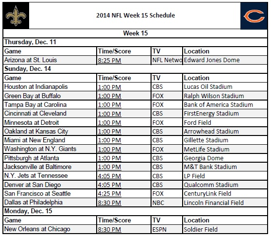 2014 NFL Week 15 Schedule