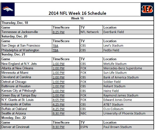 2014 NFL Week 16 Schedule