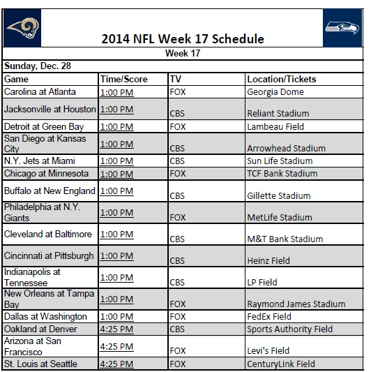 Decisive image pertaining to nfl week 17 schedule printable