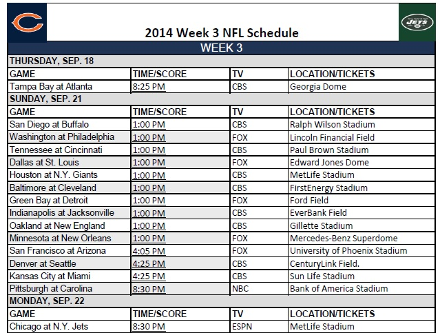 2014 NFL Week 3 Schedule