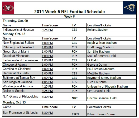 Printable 2014 Nfl Week 6 Schedule