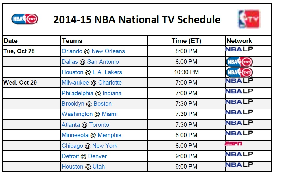 photograph relating to Cleveland Cavaliers Printable Schedule named Printable NBA Television set Plan 2014-15 - PrinterFriendly