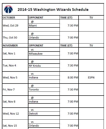 2014-15 Washington Wizards Schedule