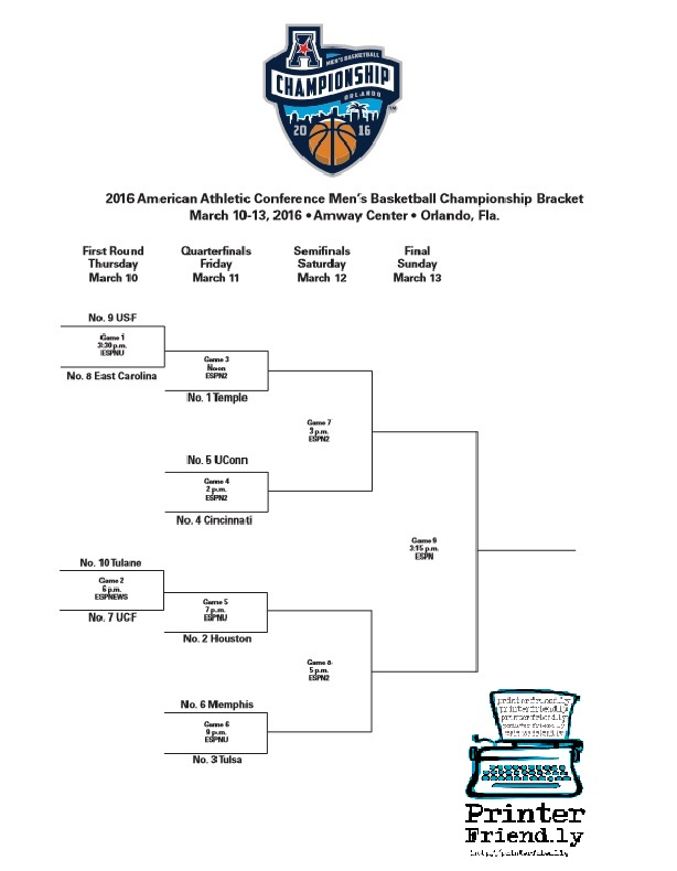 2016 AAC Tournament Bracket PF