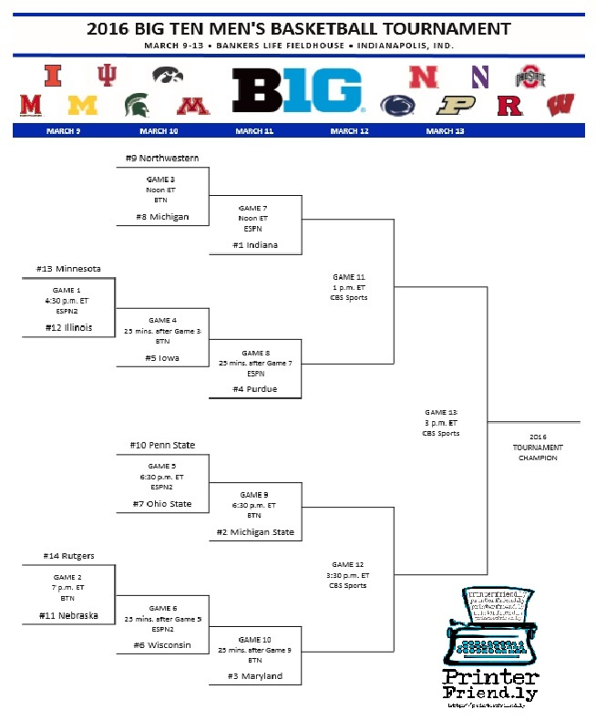 Printable Big Ten Basketball Bracket