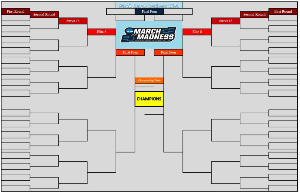 It is an image of Trust 2020 March Madness Printable Bracket