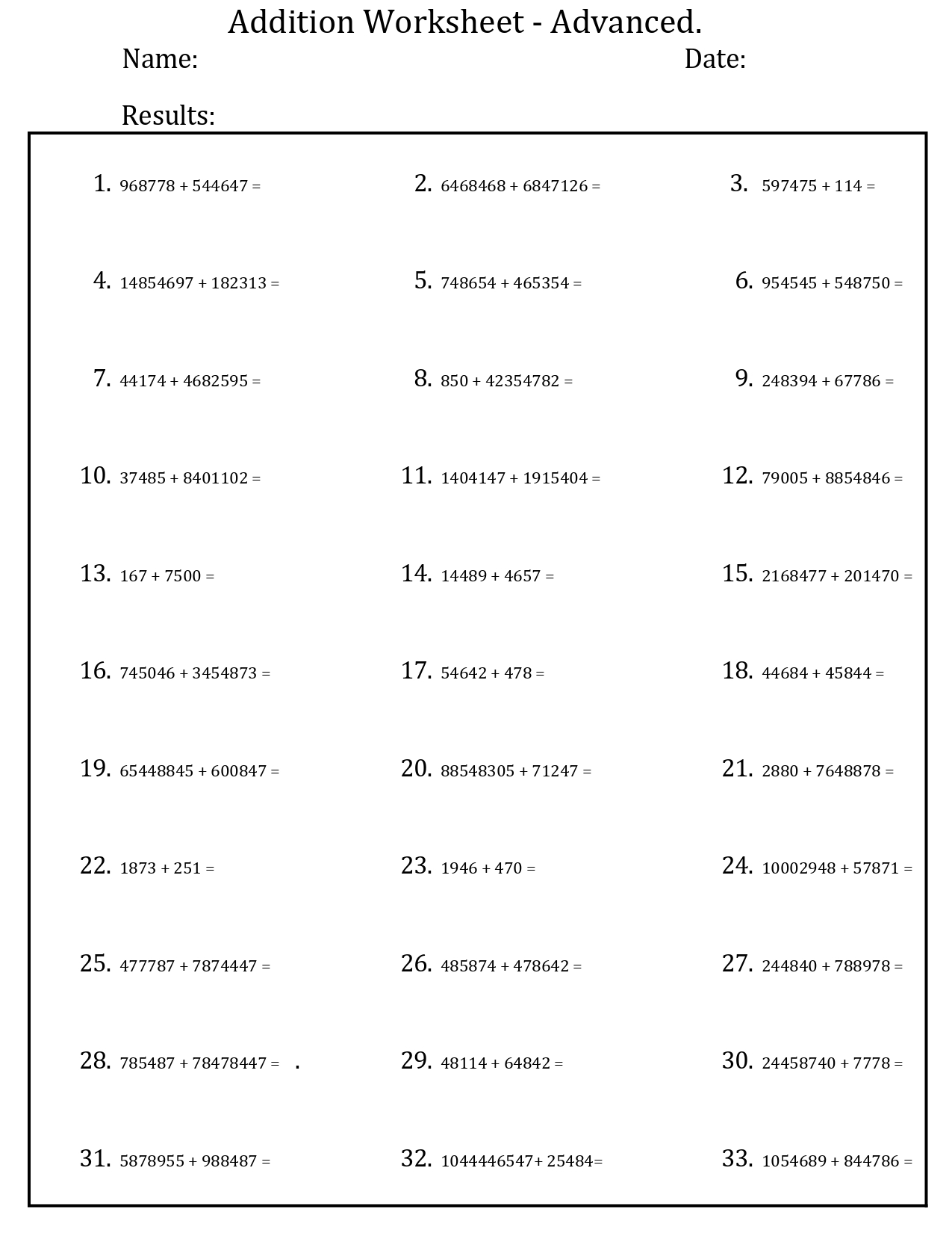 - Printable Basic Addition Worksheets 1-20 (PDF) - PrinterFriendly