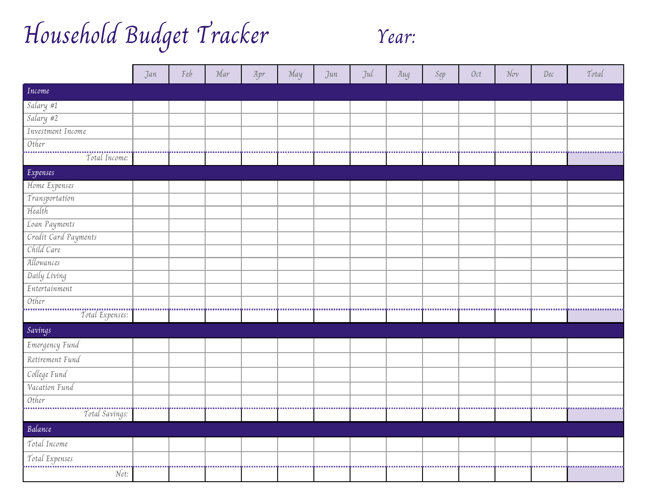Household Budget Template Printable Collection
